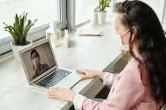 woman having a video call
